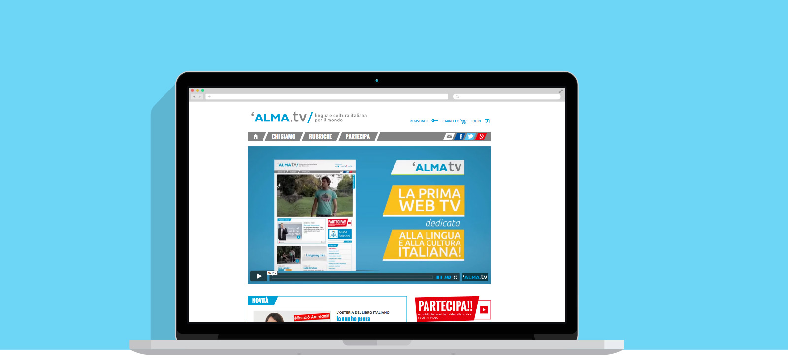 AlmaTV website on laptop